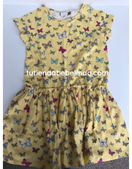 Vestido mostaza estampado mariposas
