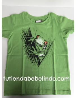 Camiseta niño manga corta rana verde