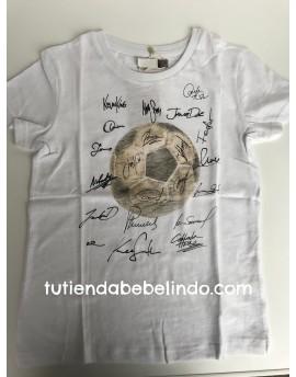 Camiseta niño manga corta blanca fútbol