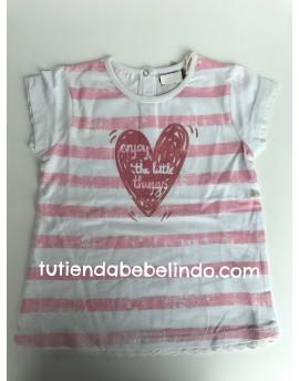 Camiseta niña manga corta rayas y corazón