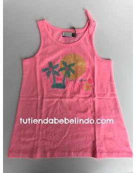 Camiseta niña sin mangas rosa