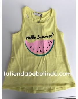 Camiseta niña sin mangas amarilla sandía