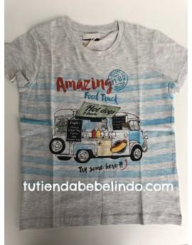 Camiseta niño manga corta gris estampada