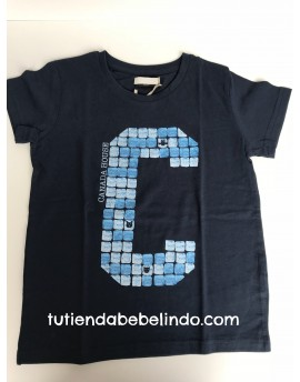 Camiseta niño manga corta azul estampada