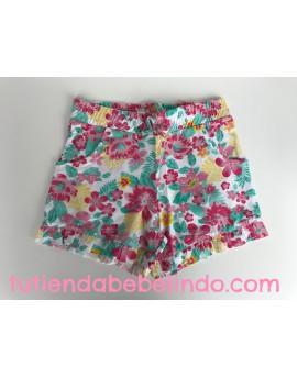 Pantalón corto niña estampado flores