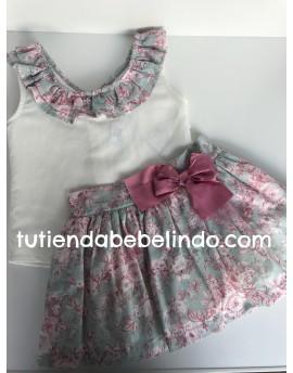 Conjunto niña falda y camisa