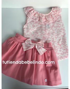 Conjunto niña falda y camisa rosa