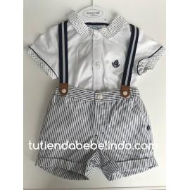 Conjunto niño pantalón corto y camisa con tirantes