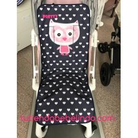 Colchoneta silla universal azul marino corazones