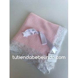 Toca Rosa con lazo blanco