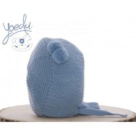 Capota Bebé Punto arroz con Pompones Azul