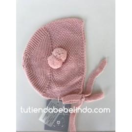 Capota Bebé Punto arroz con Pompones Rosa