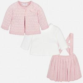 Conjunto falda, camiseta y rebeca Mayoral rosa