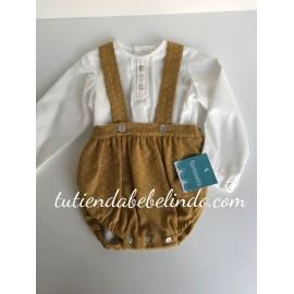 Conjunto ranita mostaza con camisa Tartaleta