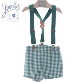 Pantalón de cuadros con tirantes Yoedu