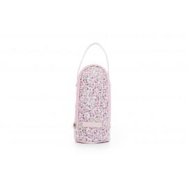 Portabiberón polipiel flores rosas