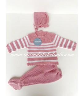 Conjunto 3 piezas rayas rosa Juliana