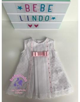 Batón plumeti blanco/rosa