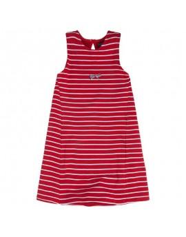 Vestido niña rojo de rayas Sailor